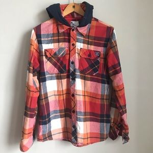 DC plaid Flannel Button Down hoodie size S